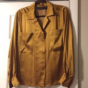 Tops - Silk deep gold long sleeve dress blouse